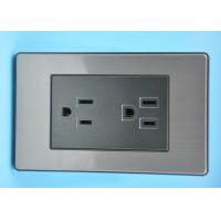 Buy cheap Black Brushed Stainless Steel Sockets , Safe Twin Switched Socket 2 Gang from wholesalers