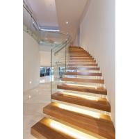 Quality Clear glass railing floating stair with Led light for sale