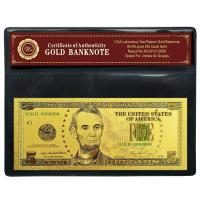 Buy cheap Pure 24K Gold Plated USD 5 Dollar Banknote For Business Gift from wholesalers