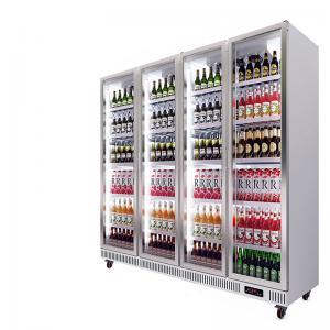 China Commercial 4 Glass Doors Vertical Display Fridge Freezer on sale