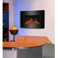 """Buy cheap 26""""Black Curved Tempered Glass Wall Mounted Electric Fireplace Heater(Log Fuel) hot sale room heater led flame effect product"""