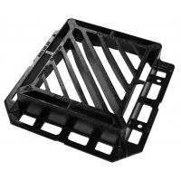 China 440 (L) x 400 (W) opeing slotted double triangular ductile iron grating with 3 sided frame flange on sale