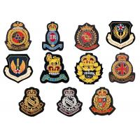 Buy cheap Indian silk crown Gold thread embroidery patch badges army club uniform handmade OEM from wholesalers