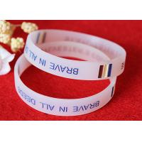 Buy cheap Half Transparent Custom Rubber Band Bracelets , Engraved Rubber Wristbands OEM Production from wholesalers