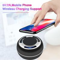 Buy cheap TWS portable bluetooth speaker mobil phone wireless charging support LED colorful with radio from wholesalers