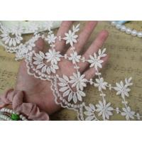 Buy cheap Embroidered Alibaba China Wholesale Embroidered Chemical White flower Lace Fabric trimming for dress sale from wholesalers