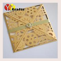 Buy cheap Open Unique Wedding InvitationsGold Cards Opening Ceremony 15x15 cm from wholesalers