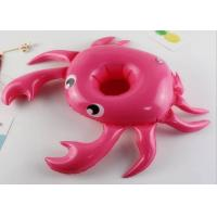 China Pink Crab Cup Holder Floats , 0.15mm PVC Pool Drink Holder Waterproof / UV Resistant on sale