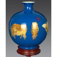 Buy cheap Flower vase with wheat straw painting, special vase for flowers, Wheat-Straw Ceramic Pomegranate Vase from wholesalers
