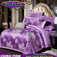 Buy cheap Beatiful Home Using Purple Flowers Jacquard Luxury Bedding Sets from wholesalers