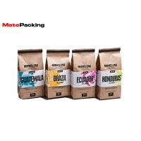 Buy cheap Food Grade Heat Seal Stand Up Coffee Pouches , Packaging Tin Tie Brown Paper Coffee Bags from wholesalers