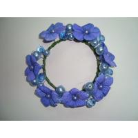 Buy cheap Small Blue Violet Fabric Artificial Decorative Flowers Garlands Wreaths with Beads from wholesalers