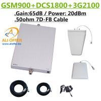 Buy cheap 65dB GSM DCS 3G 900 1800 2100 MHz Tri Band Cellular Phone Signal Booster Repeater Amplifier+LPDS+Panel Antenna+15m 7D-FB from wholesalers