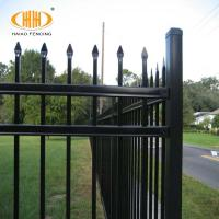 Buy cheap Home decor 2100mm height fence black galvanized steel pipe fence from wholesalers