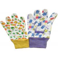 Cotton Canvas Gardening Gloves With Colourful Knit Wrist & Elastic Line
