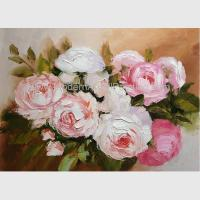 Buy cheap Blossoming Pink Rose Oil Painting, Hand Painted Floral Oil Painting For Wall product