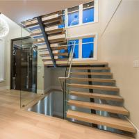 Buy cheap Contemporary floating staircase with wood tread invisible stringer straight from wholesalers