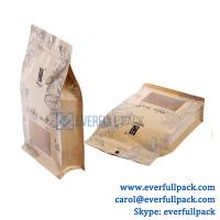 Buy cheap Custom design food grade stand up flat bottom pouch kraft paper bag with custom shape clear window and zipper from wholesalers