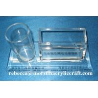 Buy cheap Table Top Clear Acrylic Staionery Plexiglass Card Holder With Pen Holder from wholesalers