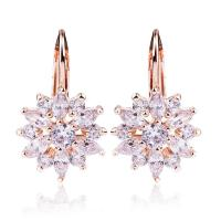 Buy cheap Rose Gold Color Flower Cubic Zirconia Stud Earrings With Sparkling Stones For Women from wholesalers