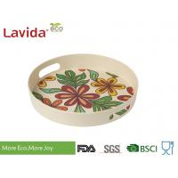 Buy cheap Dishwasher Safe Bamboo Fiber Big Round Serving Tray With Christmas Pattern from wholesalers