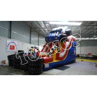 Buy cheap PVC Trapualin Inflatable Dry Slide / Long Water Slides For Backyard from wholesalers