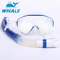 Buy cheap Blue / White Diving Snorkel Set Quick Release Buckles With Customized Logo from wholesalers