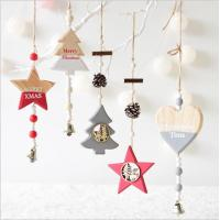 Buy cheap New Year Wood craft Christmas Ornaments Pendant Hanging Gifts star heart Xmas Tree Decor  Home party christmas decoratio from wholesalers