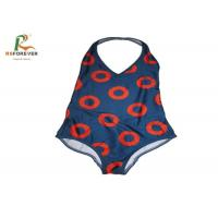 Buy cheap Customized Red Circle Lycra One Piece Swimsuit , Womens One Piece Bathing Suits OEM from wholesalers