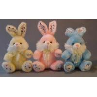 Buy cheap Long Hair Plush Easter Bunnies Small Stuffed Toys , Yellow / Pink / Blue from wholesalers