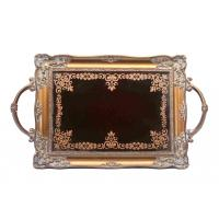 Buy cheap Handcrafted Small Mirrored Vanity Tray With Branch Handle Scrolling Designs product