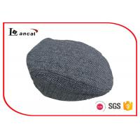 Buy cheap Grey Herringbone Flat Cap With Black Cotton Sweatband And Lining , Flat Cap Hat from wholesalers
