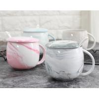 Buy cheap Water Tea 12 Oz Ceramic Mugs Pink With Cover FDA CA Approved Customized Text from wholesalers