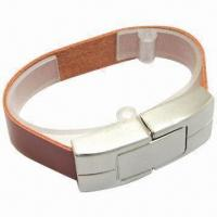 Buy cheap Popular Leather Bracelet USB Flash Drive, 128MB to 500GB Capacity product