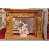 Buy cheap decorative natural beige marble fireplace surround,marble stone fireplace from wholesalers