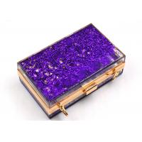 Buy cheap Elegant Purple Transparent Box Clutch Bag , Women Clear Acrylic Handbags from wholesalers