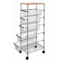Buy cheap Smooth 5 Adjustable Drawers Wire Utility Cart For Laundry , Kitchen , Office from wholesalers