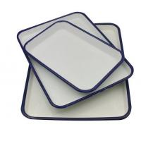 Buy cheap white+blue color cast iron dinnerware enamel food serving tray from wholesalers