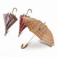 Buy cheap Plastic Auto-folding Umbrellas with Crook Handles, Ideal for Gifts and Premiums from wholesalers