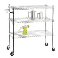 Buy cheap Stainless Steel Chrome Mobile Wire Metal Shelving Cart With 3 Ventilated Shelves from wholesalers