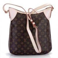 Buy cheap Oxidizing Leather Trimming and Shoulder Strap LV Monogram Handbags Golden Brass Odeon MM from wholesalers