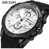 Buy cheap MEGIR Fashion Men Multifunction Chronograph Racing Sport Car Watches Waterproof 30m Silicone Strap Watch 2055G from wholesalers