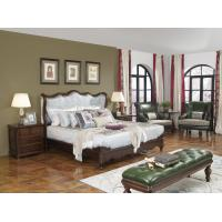 Buy cheap American Western design style Villa Bedroom furniture Fabric Headboard Screen Wood Bed with Leather Bench and  Armchair from wholesalers