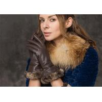 Buy cheap Sexy Ladies' Deer Skin Winter Fur Gloves , Brown Rabbit Fur Cuff Women Driving Gloves from wholesalers