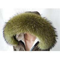 Buy cheap Raccoon fur collar Large Long Detachable Real Fur Collar for Winter 80 cm Green from wholesalers