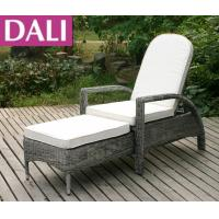 Buy cheap KD Square Armrests Rattan 4-Position Lounger/Adjustable rattan daybed, outdoor furniture sun lounger , sunbed cushion from wholesalers