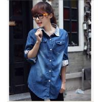 Buy cheap 2013 Spring Fashion Lace Long Sleeve Denim Blouse from wholesalers