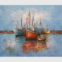 Buy cheap Thick Oil Abstract Sailboat Paintings / Hand Painted Boat Landscape Paintings product