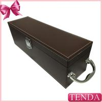 Buy cheap Luxury Shiny Handle Brown PU Faux Genuie Leather Wine Box for Red Wine Alcohol Beverage from wholesalers