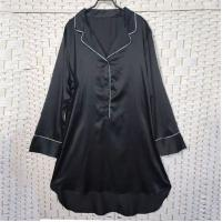 Buy cheap Sexy Black Women Pyjama Set , Long Sleeves Soft Ladies Satin Pyjamas product